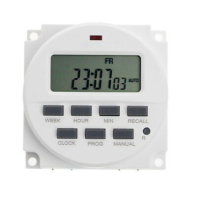 "12V DC 7 Days 15.98"" LCD Digital Timer Programmable Time Switch TM618N-4"