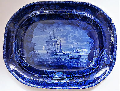 Staffordshire E. Wood & Son: Flow Blue Cape Coast Castle (Slave Trade) Platter