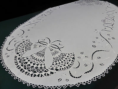 Antique Cutwork Irish Linen Small Oval Tablecloth~Hand Embroidered~Needle lace