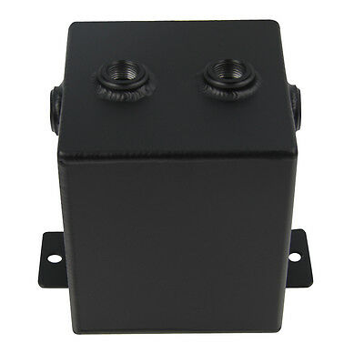 Universal Aluminium 2L 6 Ports Fuel Surge Tank Black For Bosch 044 Fuel Pump