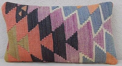 Faded Kilim Rug Lumbar Pillow Cover, Small Zigzag Wool Throw Cushion 12'' X 20''