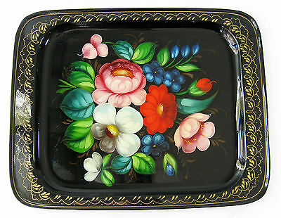 Vintage USSR Russian Folk Art Hand Painted Rectangle Metal Serving Tray, Flowers