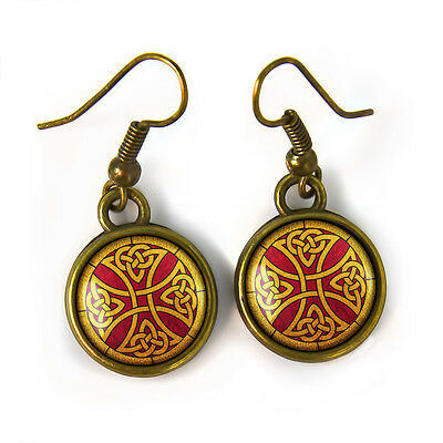 Small Celtic Cross Knot Stained Glass Design Antique Bronze Irish Earrings