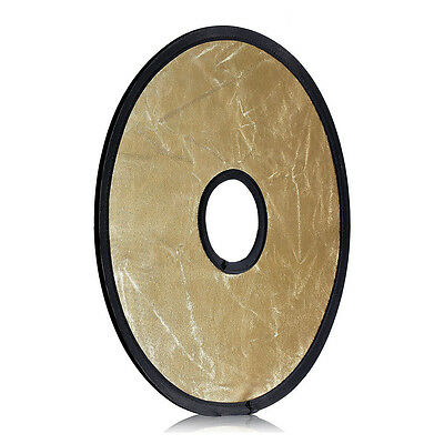 """12""""/30CM 2-in-1 Gold & Silver Portable Circular Collapsible Lens-Mount Ligh D1F5"""