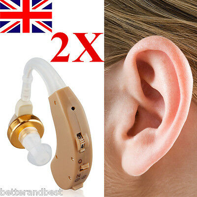 2X Mini Behind Ear Hearing Aid Helper Sound Amplifier Adjustable Tone Enhancer