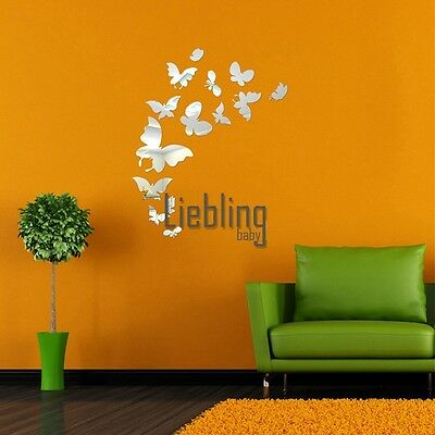 14 butterfly beautiful combination of wall stickers decorative mirrors LEBB01
