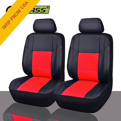 NEW ARRIVAL Universal PU Leather Two Front Black with Red Car Seat Covers Set