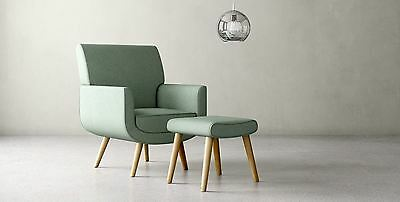 Yves Chair ONLY Sage Green Accent Easy Fabric Armchair Scandinavian Retro