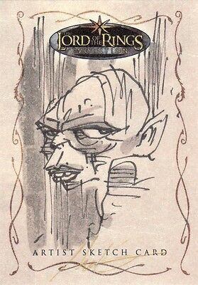 Topps Lord of the Rings Evolution James Hodgkins / Gollum Sketch Card LotR