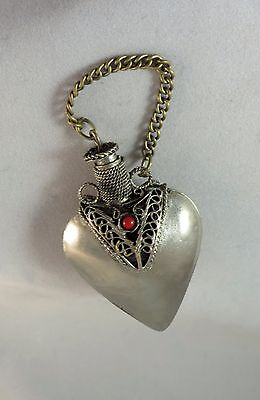 Vintage White Metal Heart Shaped Perfume  Bottle Pendant Vinaigrette