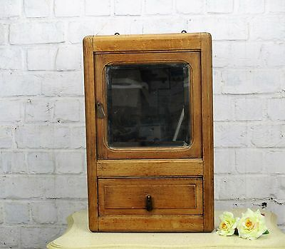 Antique French Massive Oak medicine bathroom Cabinet Beveled Glass mirror