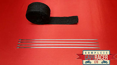 Fibreglass Exhaust Heat Wrap Black 5M Roll With 4 Stainless Steel Ties