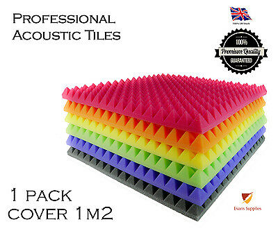 16X Acoustic Foam Pyramid Tiles Studio Sound Room Music PACK COVER 1m2 colours