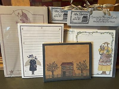 5 UNIQUE NEW Asst. PRIMITIVE DESIGN NOTEPADS & RECIPE CARDS~Charming Collection