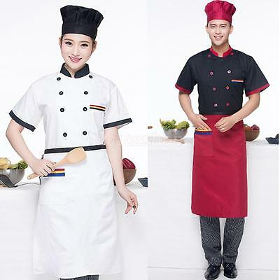 New Short Sleeve Double-Breasted Chef Jacket Coat Chef Uniform for Men Women