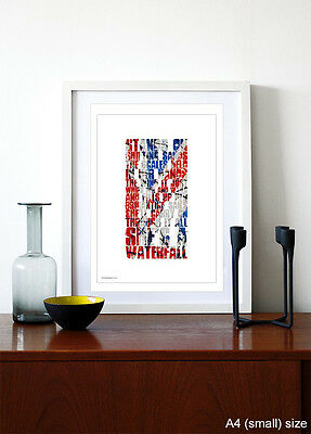 THE STONE ROSES ❤ Waterfall ❤ typography poster art lyrics print in 5 sizes #29