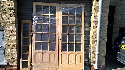 LARGE VICTORIAN PAIR OF BEVELLED GLASS DOORS AND PANEL Circa 1880s
