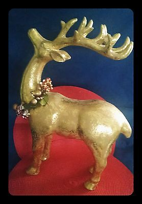 "Beautiful Shiny  Large Gold Paper Mache Christmas Reindeer (17"" Tall)"
