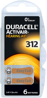 Duracell Mercury Free Hearing Aid Batteries 312 x30 cells - Expires April 2021