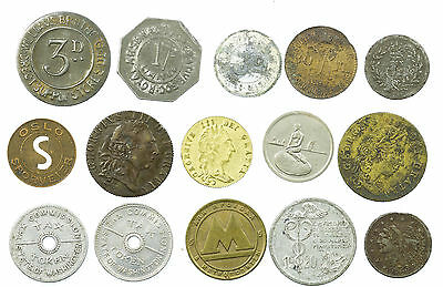 World Tokens, Collection Of 15 Coins, Gaming Counters, Transport Etc