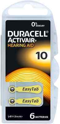 Duracell Mercury Free Hearing Aid Batteries Size 10. *Expires 2022*