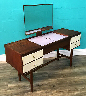 Stylish Retro Mid Century Walnut Dressing Table With Secret Make Up Compartment