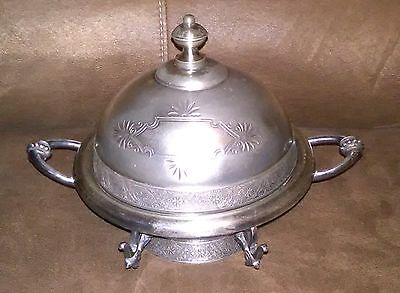 Meriden B Co Quadruple Silver Plate Covered Butter Bowl Dish
