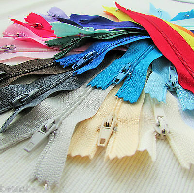 "5 x 6"", 8"" & 10"" No3 nylon autolock zips for crafts & sewing - colour choice"