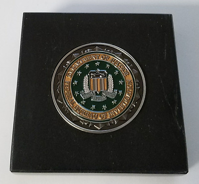 FBI Federal Bureau of Investigation Coin Green Middle 3X3 Black Marble Plaque