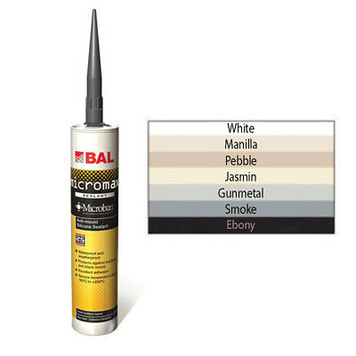BAL Micromax Anti Bacterial Silicone Sealant 310ml Various Colours Free Delivery