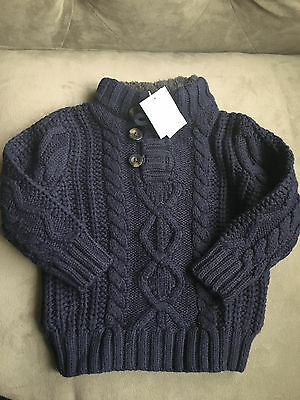 Baby Gap Toddler Boys SIze 12-18 months navy blue Long Sleeve Sweater Cable Knit
