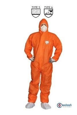 50 Pcs, SMS COVERALL TYPE 5/6, DISPOSABLE ORANGE Overalls, 6 sizes
