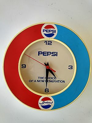 "Vintage 1989 Pepsi-Cola Advertising Wall Clock ""The Choice Of A New Generation"""