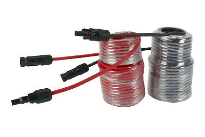1 Pair 50 ft MC4 Solar Panel Extension Connector 10 AWG PV Cable Wire Blk/Red