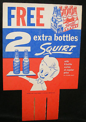 Squirt Soda Sign Bottle Carton Large Cardboard Topper Dated 1959