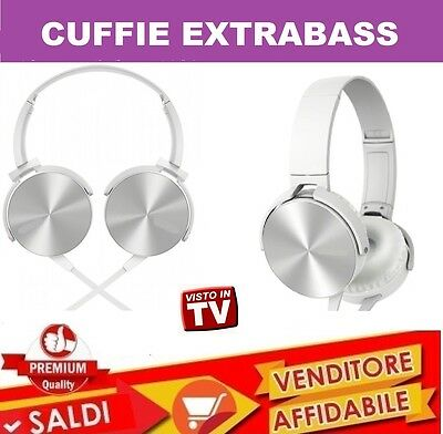 Cuffie Stereo Microfono Hd Extra Bass Dj Smartphone Tablet Ipod Mp3 Pc  Bianco ad896606c4d3