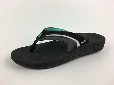 12be84e3237b REEF FANNING BLACK MINT Green white Seafoam Flip Flops Thong Sandals ...