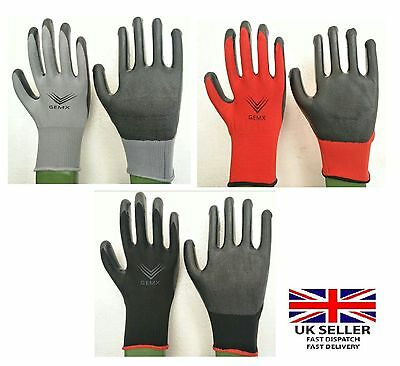 1, 6, 12,  24, Pairs Nylon Pu Coated Safety Work Gloves Garden Grip Builders