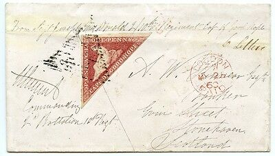 "Cape of Good Hope 1860 ""Soldiers Letter"" with 1d Cape Triangular to Stonehaven."