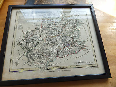 Antique map engraving by J Roper 1809 Montgomeryshire