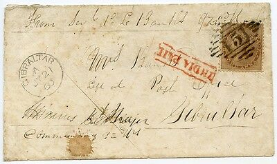 "India, 1858 cover with 1a issue ""Soldiers Letter"" to Gibraltar from Agra."