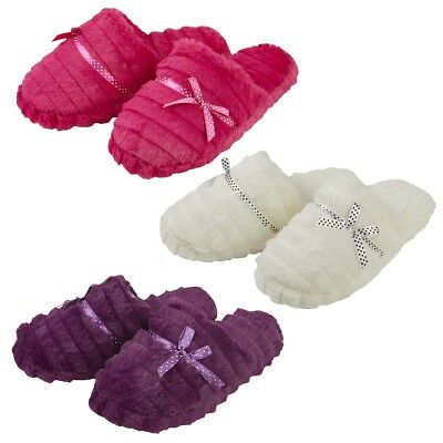 Ladies Furry Slippers Soft Warm Mule Womens Slipper Size 3-8 Uk Comfortable