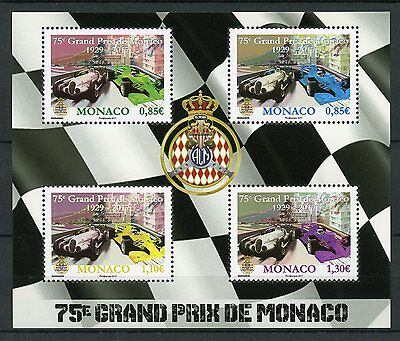 Monaco 2017 MNH 75th Grand Prix F1 Formula 1 Racing 4v M/S Cars Motoring Stamps
