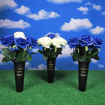 MEMORIAL GRAVE VASE & ROSES DAD GRANDAD HUSBAND Graveside Flowers Free Card Pick