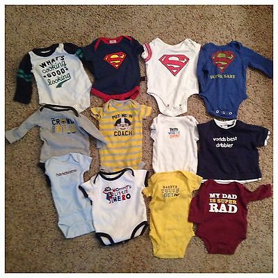 Set of 12 Baby Graphic Onsies size 0-3 Months