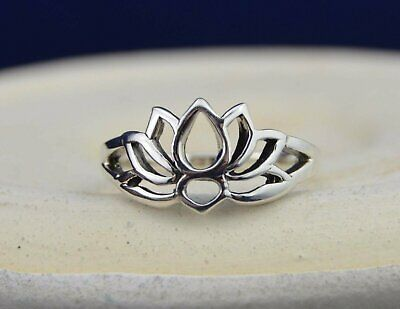 Sterling silver lotus flower ring in sizes 3, 4, 5, 6, 7, 8, 9