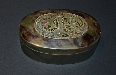 Antique Chinese ox horn jewellery box rubies 18ct gold pins carved Dragon