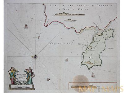 Holy Island Anglesey Wales antique map Capt. Collins 1760