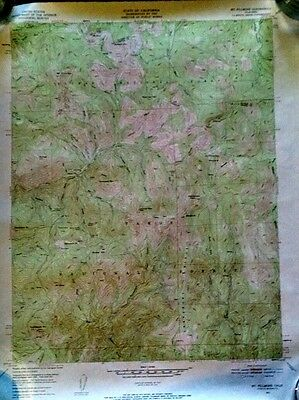 Vintage Lake Tahoe California MT FILLMORE USGS WALL MAP 1951 Topography Color!