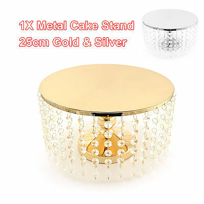 Metal Cake Stand Acrylic Crystals Cup Gold Silver Dessert Platter Party Birthday
